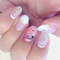 Flamingo #ハンド #ミディアム #Mariko Sakai #ネイルブック