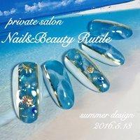 #夏 #海 #リゾート #ハンド #シェル #シースルー #スターフィッシュ #マリン #ロング #ホワイト #ブルー #Nail&BeautyRutile♡Risa #ネイルブック