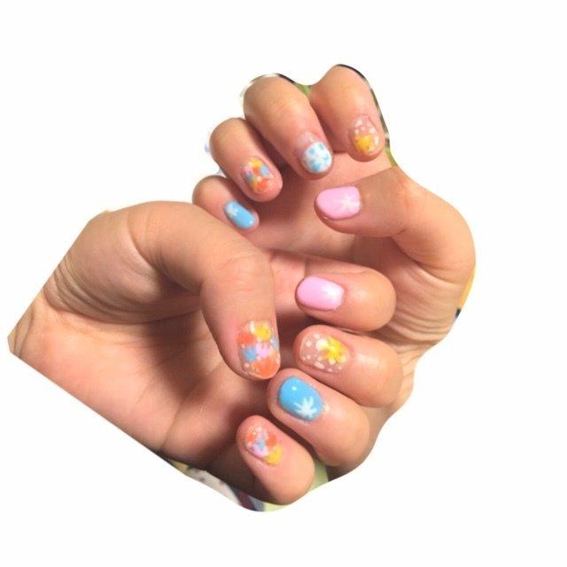 #春 #夏 #浴衣 #ハンド #ショート #ピンク #イエロー #カラフル #ジェル #セルフネイル #*3uu☺︎ #ネイルブック