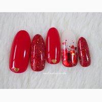 1月定額デザイン♩ #ハートホログラム #バレンタイン #赤ネイル #ハートホロ #nail_ecrin #ネイルブック