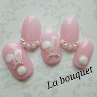 イースターネイル✨  うさみみとふわふわしっぽ♥          #ハンド #ワンカラー #パール #キャラクター #3D #ミディアム #ホワイト #ピンク #La bouquet ウサミレナ #ネイルブック