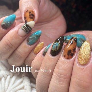 #エスニック #ネイティブ #ボヘミアン #レオパード #ターコイズ #ブラウン #ゴールド #Jouir for beauty - hair nail eyelash- #ネイルブック