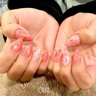 #バラ#ピンク#春#ホロ #mi_zu_ki #ネイルブック