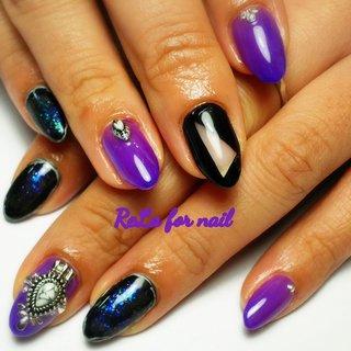 おまかせ💅ブラックと紫のご希望❣️ #ワンカラー #ビジュー #くりぬき #ギャラクシー #パープル #ブラック #メタリック #ジェル #rela_for_nail ~リラ~ #ネイルブック