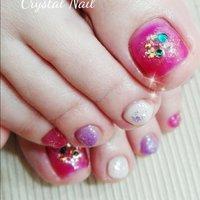 フットジェル♪ピンク!ストーンでオリエンタルな雰囲気に✨😊 #crystalnail08 #ネイルブック