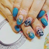 Mermaid Blue #夏 #オールシーズン #旅行 #ハンド #グラデーション #ホログラム #ミディアム #水色 #ブルー #ジェル #お客様 #Sure! #ネイルブック
