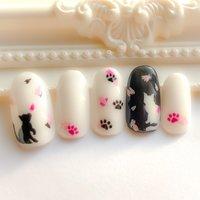 #春 #フラワー #アニマル柄 #ホワイト #ピンク #ブラック #ジェル #ネイルチップ #kaz_m #ネイルブック