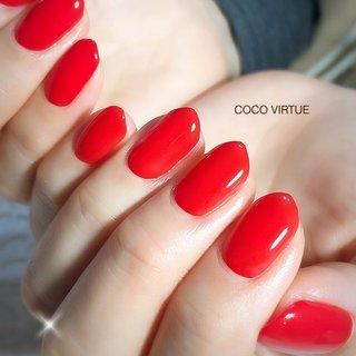 #赤ネイル#ワンカラー #オールシーズン #パーティー #女子会 #ハンド #シンプル #ワンカラー #ミディアム #レッド #ジェル #お客様 #COCO VIRTUE #ネイルブック