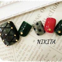 シースルーブラックネイル #オールシーズン #クリスマス #パーティー #デート #フット #ワンカラー #シースルー #ドット #ショート #レッド #ブラック #ジェル #ネイルチップ #nikita2007 #ネイルブック
