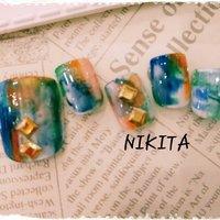 油絵のような斬新ネイル #オールシーズン #パーティー #デート #フット #ショート #オレンジ #グリーン #ブルー #ジェル #ネイルチップ #nikita2007 #ネイルブック