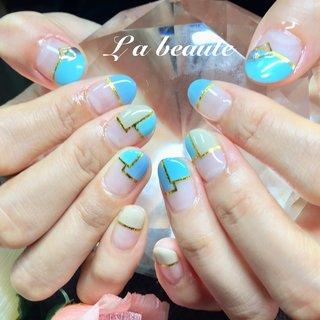 #ストレートフレンチ #ブロッキングネイル #ブルー #オールシーズン #旅行 #梅雨 #海 #ハンド #フレンチ #ブロック #ショート #ベージュ #水色 #ブルー #ジェル #お客様 #La beaute〜ラ ボーテ〜 #ネイルブック