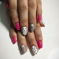 ピンク×グレー×ダルメシアン パール♡ ピンクとグレーはマットです! #ハンド #ミディアム #ホワイト #ピンク #グレー #p_kahochin #ネイルブック