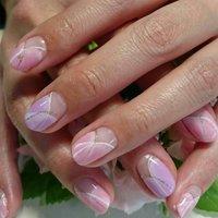 springネイル~(*´ω`*) パステルcolorを使って女子力UP~ #春 #入学式 #オフィス #デート #ハンド #変形フレンチ #ショート #ピンク #パープル #パステル #ジェル #お客様 #kureyonnail #ネイルブック