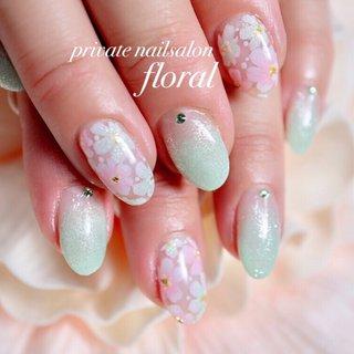 #フラワーネイル#サンプルから . . #*private nailsalon floral**M** #ネイルブック