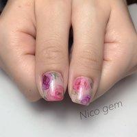 #水彩アートネイル #ピンク #フラワーネイル #春 #オフィスネイル #春 #オールシーズン #ハンド #Nico_gem #ネイルブック