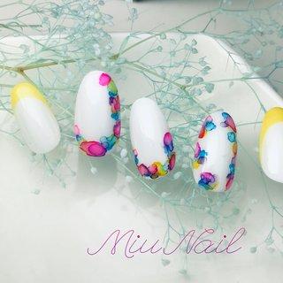 #春 #夏 #オールシーズン #海 #ハンド #シンプル #デニム #ニュアンス #ホワイト #ピンク #カラフル #ジェル #miu #ネイルブック
