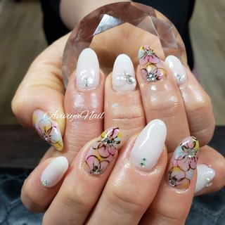 #フラワー #フラワーネイル #フラワーアート #フラワーデザイン #お花ネイル  #お花ネイルホワイトネイル  #手描きアート #春 #ブライダル #パーティー #デート #ハンド #シンプル #フラワー #スーパーロング #ホワイト #ピンク #水色 #ジェル #お客様 #AYA★アヴィヴィヤ #ネイルブック