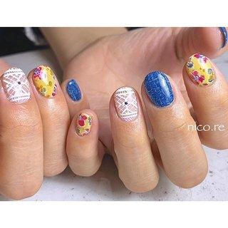 デニムとお花柄☺︎ . ------------------------------- . ♣︎ご予約受付中💁♀️ . ご新規様1000円オフ✨ or 他店様オフ無料✨ . ご予約お待ちしております♡ . ------------------------------- . #nail#nails#nailart#naildesign #ネイル#ネイルアート#ネイルデザイン#gelnail #ジェルネイル #奈良県ネイル#橿原ネイル#橿原市ネイルサロン #nicore#ニコリ #nicoremike#ニコリミケ#大人ネイル#powerbasemeister #パワーベースマイスター #パワーベース #爪に優しいジェル#フラワーネイル#お花ネイル#デニムネイル#クロッシェネイル#ジェルアート#手描きアート#春ネイル#夏ネイル #春 #夏 #ハンド #フラワー #デニム #ボタニカル #レース #ミディアム #ホワイト #イエロー #ネイビー #ジェル #みけ #ネイルブック