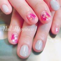 #クリアネイル #ぬりかけ #オールシーズン #ハンド #ワンカラー #シェル #ピンク #グレー #Nail Happiness!(ネイルハピネス)*ささきまき #ネイルブック