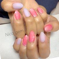 #ハンド #すりガラスネイル #pink#フラワーネイル #パープル #大人かわいい #春 #夏 #ハンド #フラワー #ピンク #パープル #ジェル #Nico_gem #ネイルブック