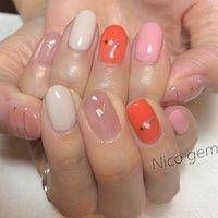 #ニャアンスネイル #オレンジ#pink#おしゃれ #春 #夏 #ハンド #ニュアンス #ジェル #Nico_gem #ネイルブック