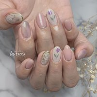手描きフラワー  #nail#nails#nailart#gelnails#naildesing#fashion#latrois#ネイル#ジェルネイル#トロワ#西尾ネイル#西尾市ネイルサロン#三河ネイル#ニュアンスネイル#手描きネイル  お問い合わせはこちらからお願い致します📩LINE ▸▸@hax1956a Instagram ▸▸@la.trois_nail #la.trois_nail #ネイルブック