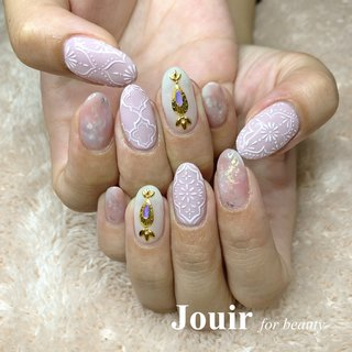 #ハンド #アンティーク #ボヘミアン #エスニック #ホイル #オーロラ #ホワイト #ピンク #グレージュ #Jouir for beauty - hair nail eyelash- #ネイルブック