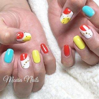 ☆New Nail☆  持ち込みデザインで ポップカラーネイル💅  当店ではお客様のお好みのや 肌色に合わせて お色をお作りします💕  ネイルの持ちが悪い… 爪が折れやすい😭など 爪のお悩み、トラブルは お気軽に ご相談ください🙇 ご予約お問い合わせは↓↓ ✉private_salon.musa@docomo.ne.jp  #nail #nails #nailart #art #genic_nail #fashion #style #design #love #girls #cute #beauty #ネイル #ネイルサロン #ネイルアート #ネイルデザイン #ジェルネイル #大人ネイル #カラフルネイル #ニュアンスネイル #オフィスネイル #フットネイル #グラデーション #ファッション #ホワイトネイル #春ネイル #シンプルネイル #つくば市ネイルサロン #네일 #钉子 #オールシーズン #旅行 #リゾート #女子会 #ハンド #シンプル #変形フレンチ #ボヘミアン #ドット #バイカラー #ショート #ホワイト #オレンジ #イエロー #ジェル #お客様 #MOUSA #ネイルブック