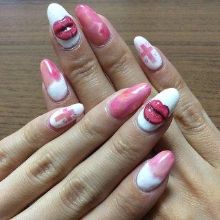 #ハンド #ジェル #ロング #セルフネイル #大理石ネイル #pink #pinknails #lips #cross #ピンク #ピンクネイル #くちびるネイル #くちびるネイル💋 #十字架 #ピンクグラデーションネイル #くり抜きネイル #3d #3dネイル #ぷっくりネイル #ぷっくりくちびる #バレンタイン #パーティー #デート #ハンド #くりぬき #3D #ロング #ホワイト #ピンク #ジェル #セルフネイル #HARU #ネイルブック