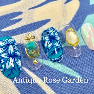 #ハンド #ハワイ  #夏 #ニュアンスネイル  #ネイルデザイン  #ボタニカル  #ユニコーン  #ハワイ #夏 #旅行 #海 #リゾート #ハンド #ニュアンス #ボタニカル #ユニコーン #Antique Rose Garden #ネイルブック