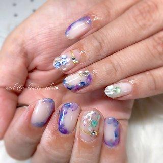 #紫陽花ネイル #梅雨ネイル #ホワイト #ネイビー #パープル #nail & beauty éclat❥ #ネイルブック