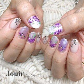 #あじさいネイル #紫陽花ネイル  #梅雨 #梅雨 #ハンド #フラワー #シェル #パール #押し花 #ホワイト #パープル #Jouir for beauty - hair nail eyelash- #ネイルブック