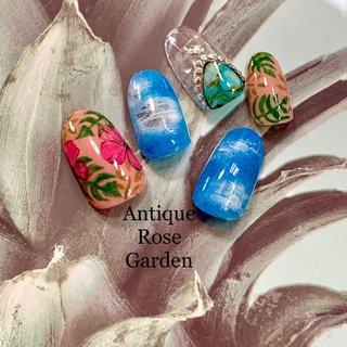 #リゾート #旅行 #海 #夏 #デニム #ダメージデニム #夏ネイル #大理石 #ボタニカル #夏 #海 #リゾート #ハンド #大理石 #デニム #トロピカル #ボタニカル #Antique Rose Garden #ネイルブック