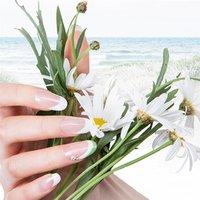 WHITE SHARP  ホワイト×曲線美。シンプルなカラーで手元を最も美しくしてくれるフレンチです。指長効果も期待できます。 #春 #夏 #オールシーズン #ハンド #フレンチ #ロング #ホワイト #グリーン #ジェル #ネイルモデル #thinkresort #ネイルブック